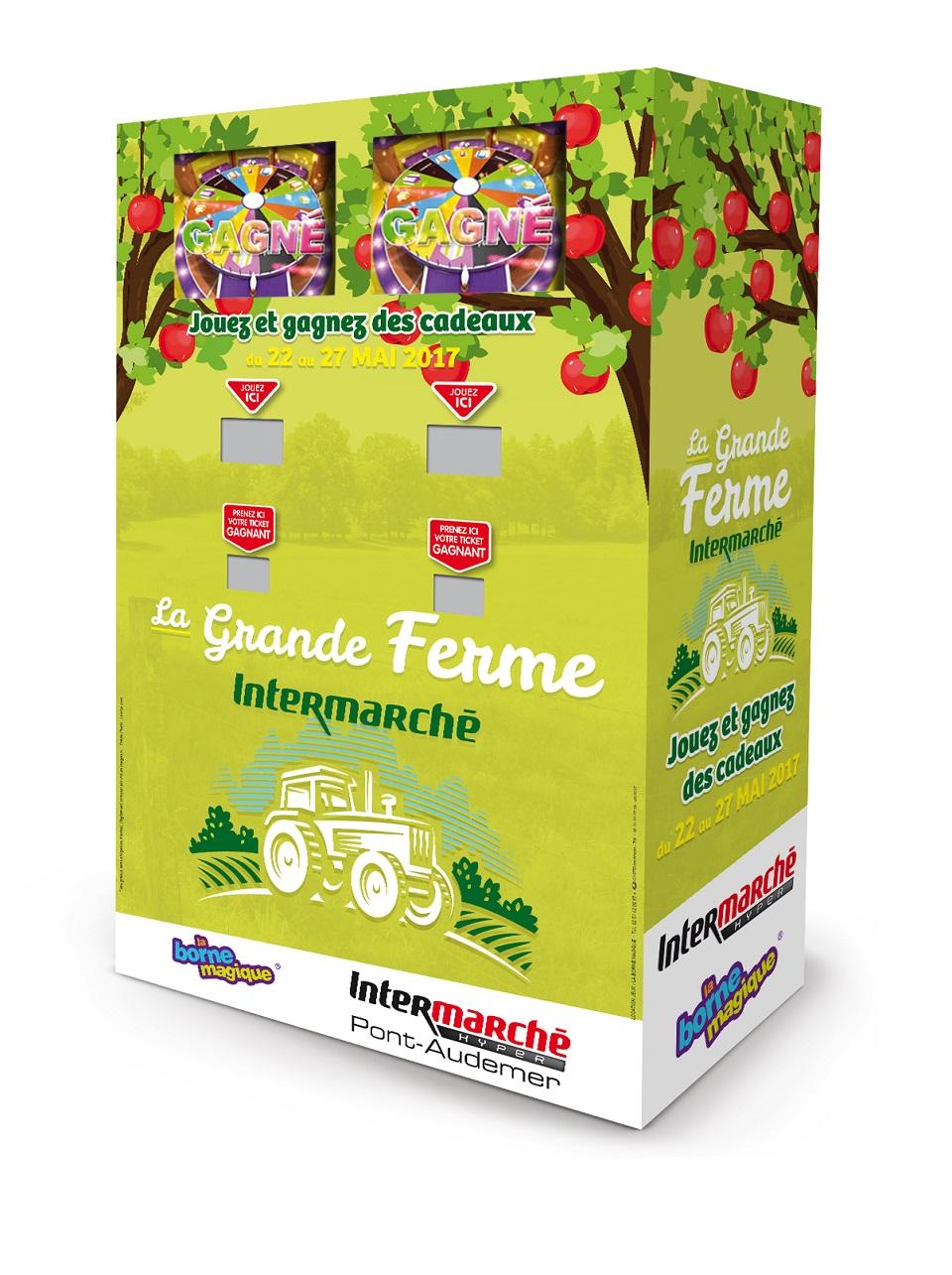 Borne-jeu-2-joueurs-animation-commerciale-magasin-Intermarché-Pont audemer-la-borne-magique