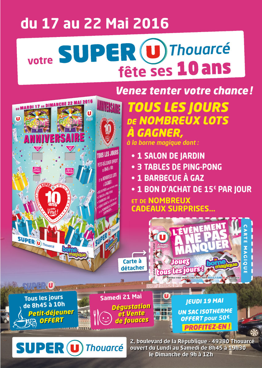 Flyer-A3-recto-Super U Thouarcé-animation-commerciale-anniversaire-magasin