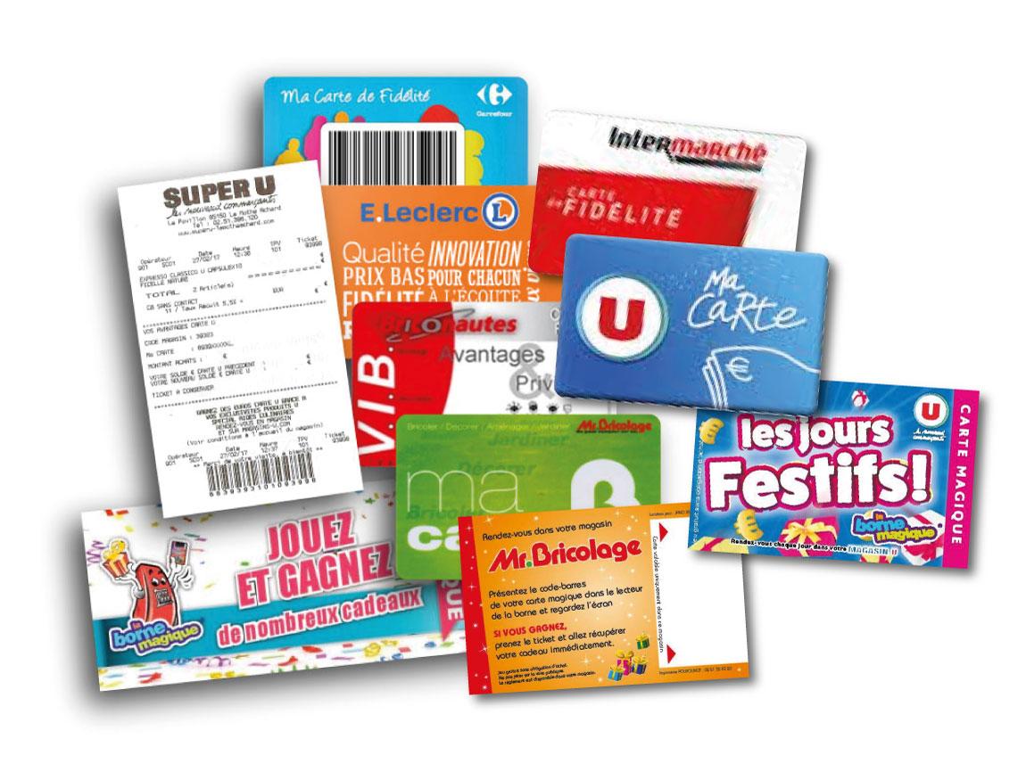 borne-de-jeu-carte-fidélité-tickets-de-jeu-ticket-de-caisse-jeton